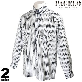 パジェロ PAGELO 長袖 カジュアルシャツ メンズ 2021春夏 ボタンダウン 総柄 花柄 13-1121-07