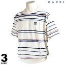 セール 80%OFF CAPRI カプリ 半袖 サマーセーター メンズ 春夏 ジャガード クルーネック ロゴ 2231-5502