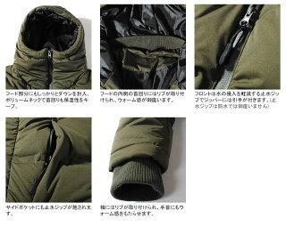 ダウンジャケットシームレスダウンボリュームネックメンズリアルダウン羽毛ブラックアウターカーキ冬物本物ダウン80%フェザー20%軽量高機能保温性送料無料