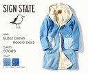 SIGN STATE サインステイト 8.0oz Denim Hoodie Coat ボアデニムフーデッドコート コーディガン 送料無料