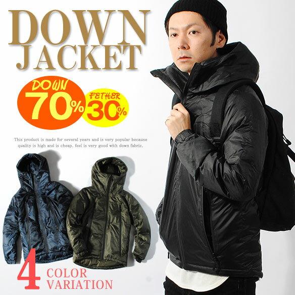 ダウンジャケット メンズ ダウンパーカー リアルダウン 羽毛 2WAY ブラック カーキ 冬物 本物 ダウン70% フェザー30% フード 軽量 保温性