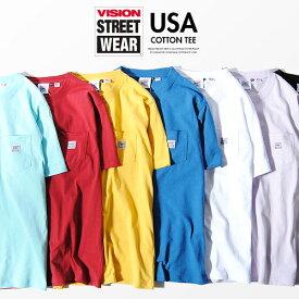 VISION STREET WEAR Tシャツ ビジョンストリートウェア USAコットン ブランドタグ付き 胸ポケット ヴィジョンストリートウェア 半袖 クルーネック Tシャツ ストリートファッション カジュアル トップスアイテム