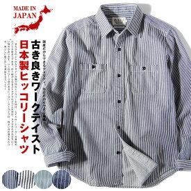 国産ヒッコリー ストライプ ワークシャツ/macbatros/メンズ 長袖 日本製 8ozデニム