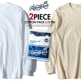 ロンT 長袖 Tシャツ 2枚セット アローレ ALORE ブランド 2ピースパックTシャツ カラー メンズ 6オンス 春物 春服