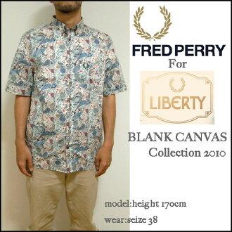 Fred Perry/ribatiribatipurintokorabopeizuri花纹短袖衬衫