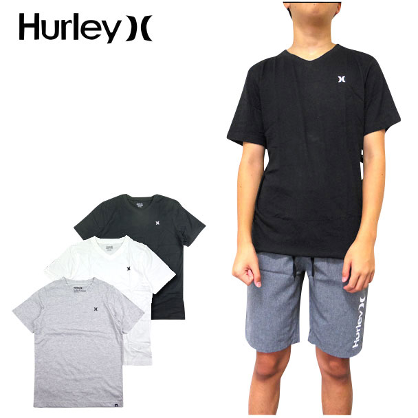 HURLEY ハーレー キッズ Vネック Tシャツ BOYS STAPLE V-NECK TEE ボーイズ ジュニア ロゴ 半袖