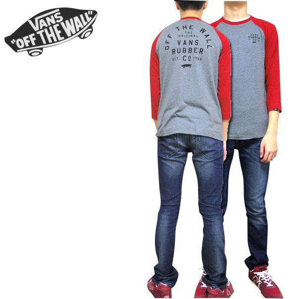バンズ VANS キッズ Tシャツ BOYS STACKED RUBBER RAGLAN TEE 7部袖 男の子 ティーシャツ 120 130 140 150 160 170