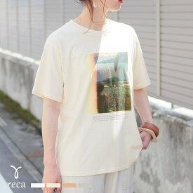 フォトプリントTシャツ(200402) レディース カットソー 半袖 Tシャツ フォト デザイン ゆったり Uネック カジュアル 夏 reca レカ メール便対応5
