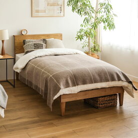 ベッド folk クイーンサイズ フレームのみ ベッドフレーム ブラウン 西海岸 モダン 北欧 ヴィンテージ 木製 無垢 送料無料