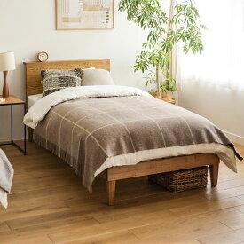 ベッド folk セミダブルサイズ プレミアム ポケットコイル マットレス付き ブラウン ベッドフレーム 西海岸 モダン 北欧 ヴィンテージ 木製 無垢 送料無料