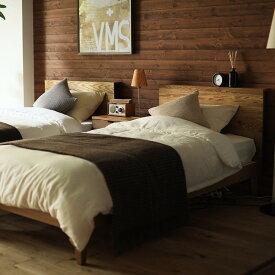 ベッド folk ダブルサイズ プレミアム ポケットコイル マットレス付き ベッドフレーム ブラウン 西海岸 モダン 北欧 ヴィンテージ 木製 無垢 送料無料