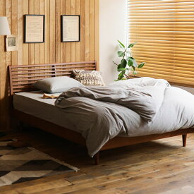 ベッド NOANA-BROWN スタンダード ダブルサイズ プレミアム ポッケットコイル マットレス付き 寝具 北欧 無垢材 ブラウン 送料無料