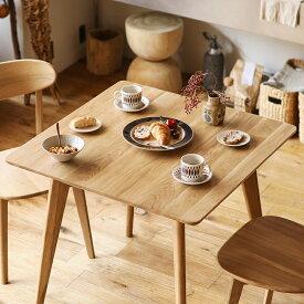 ダイニングテーブル RIVER 正方形 幅80 木製 オーク 無垢 ナチュラル 北欧 シンプル おしゃれ 送料無料 即日出荷可能