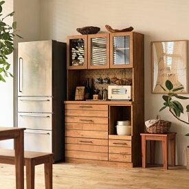 食器棚 105 キッチンボード カップボード ヴィンテージ ブルックリン ブラウン 木製 おしゃれ LINA 送料無料【開梱設置付】