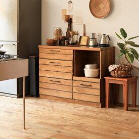 食器棚 ロータイプ 120cm キッチンカウンター ヴィンテージ ブルックリン ブラウン 木製 おしゃれ LINA 送料無料【開梱設置付】
