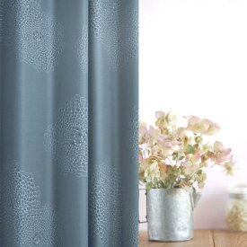 オーダー カーテン Shinowa 花柄 ブルー アイボリー アンティーク レトロ 幅100/200cm×丈205cm-260cm