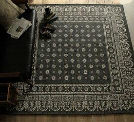ラグ ラグマット Flower Bandanna Rug 100×140 一畳 小さめ ヴィンテージ 西海岸 バンダナ グレー 長方形 おしゃれ おすすめ 床暖房