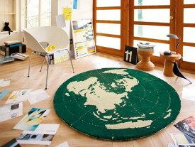 円形 ラグマット カーペット GLOBE 148×148cm 子供 子供部屋 ヴィンテージ グリーン おしゃれ おすすめ 日本製