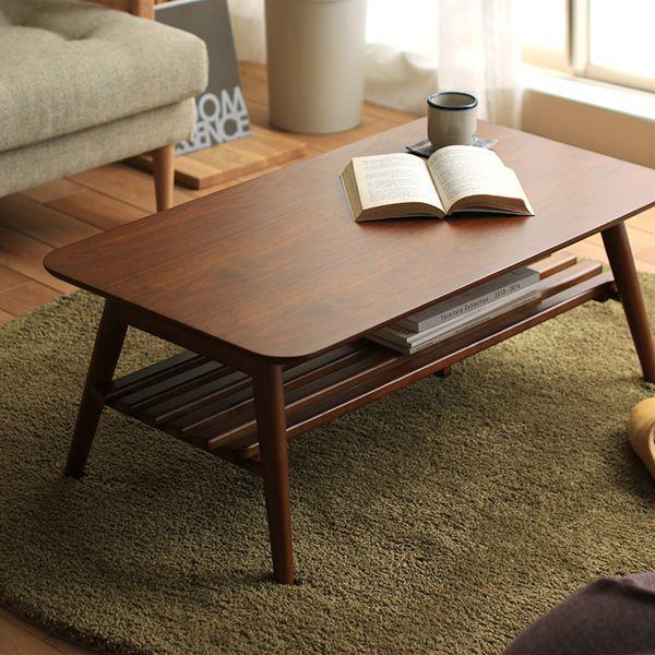 OLIE 収納付き 折りたたみ テーブル 幅 90 北欧 ヴィンテージ ビンテージ ブラウン 木製 ウォールナット 即日出荷可能【4/24以降の注文は、5/7以降順次出荷】