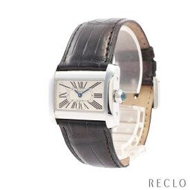 カルティエ Cartier タンクミニディヴァン レディース 腕時計 クオーツ SS クロコダイル シルバー ブラック アイボリー文字盤 W6300255 【中古】