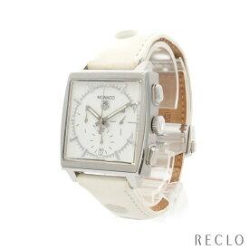 タグ・ホイヤー TAG HEUER モナコ メンズ 腕時計 自動巻き SS レザー シルバー ホワイト ホワイト文字盤 CW2117 【中古】