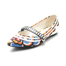 【Fashion THE SALE】【30%OFF以上】ルイ・ヴィトン LOUIS VUITTON PSYCHEDELIC FLAT BALLERINA フラットシューズ サテン レザー 白 マルチカラー 【レディース】【中古】【special】【送料無料】