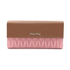 ミュウミュウ miu miu マテラッセ 二つ折り長財布 レザー 茶 ピンク バイカラー 5M1369 【レディース】【中古】【送料無料】
