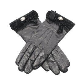 コーチ COACH グローブ 手袋 レザー ベロア 黒 ビジュー装飾 【レディース】【中古】【送料無料】