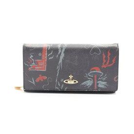 ヴィヴィアン・ウエストウッド Vivienne Westwood 二つ折り長財布 レザー ネイビー マルチカラー 【レディース】【中古】【送料無料】