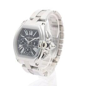 カルティエ Cartier ROADSTER ロードスター クロノグラフ メンズ 腕時計 自動巻き SS シルバー ブラック文字盤 W62020X6 【中古】