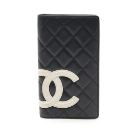 シャネル CHANEL カンボンライン 二つ折り長財布 レザー ブラック ホワイト A26717 【中古】