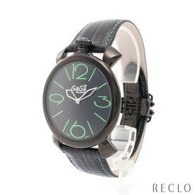 ガガミラノ GaGa MILANO MANUALE THIN 46MM マヌアーレ シン メンズ 腕時計 クオーツ SS レザー ブラック ブラック文字盤 2092.02 【中古】