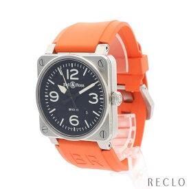 ベルアンドロス Bell&Ross アヴィエーション メンズ 腕時計 自動巻き SS ラバー シルバー オレンジ ブラック文字盤 BR03-92-S 【中古】
