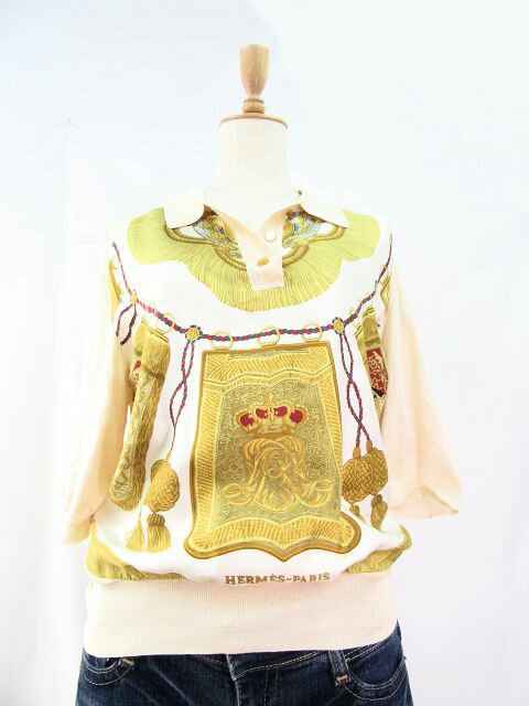 【送料無料】HERMES/エルメス スカーフ柄シルク五分袖ニット(Sサイズ) 【中古】