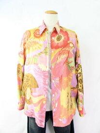 送料無料 Salvatore Ferragamo/サルヴァトーレフェラガモ シルク100%長袖シャツ(Mサイズ) 中古