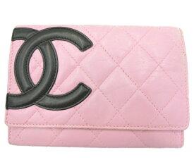 CHANEL シャネル カンボンライン レザー 二つ折り財布 中古 送料無料