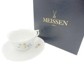 未使用品 Meissen スイートピー ティーカップ&ソーサー 中古 送料無料