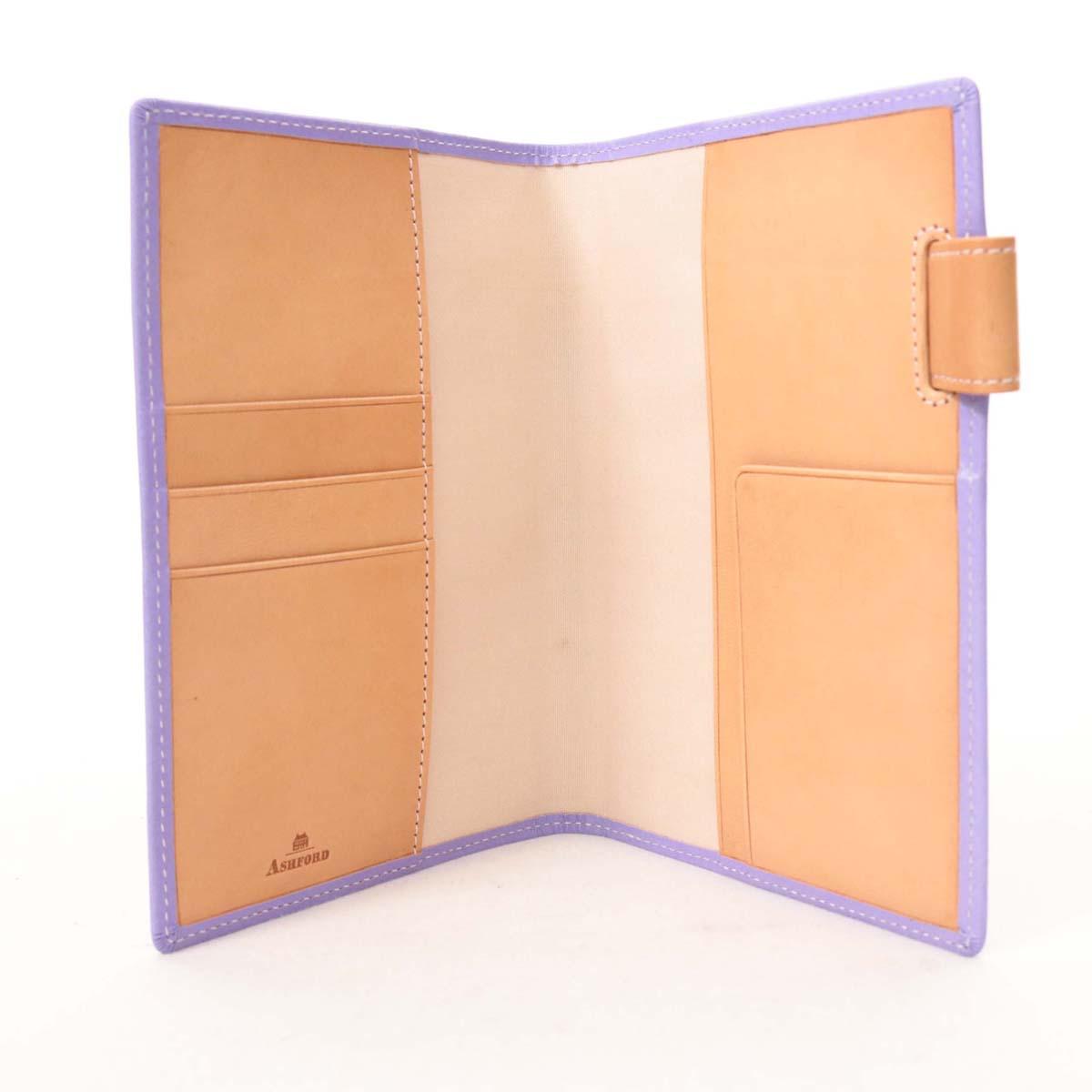 【中古】未使用品☆アッシュフォード レザー手帳カバー☆  パープル/紫/革/13653-CH0818
