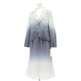 新品同様★マーサ 襟元レース グラデーション スカート セットアップ 9号★  ブルー/青/長袖/18461-CH1118
