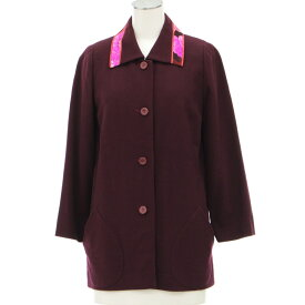 【中古】良好★レオナール ウールジャケット サイズ38★  ボルドー/M相当/LEONARD/日本製/19123-YO1218