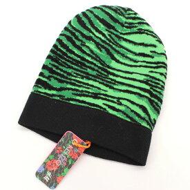 【中古】新品同様◆ケンゾー×H&M タイガーパターン ニットキャップ◆ green /緑/グリーン/コラボ/ニット帽/帽子/KENZO/ウール/メンズ/小物