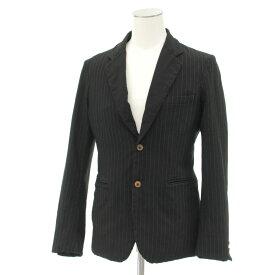 【中古】◆コムデギャルソンオムプリュス テーラードジャケット Sサイズ◆ ブラック/黒/black/2B/ストライプ/日本製/メンズ/アウター