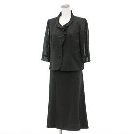【中古】良好◆LEILIAN レリアン フリルジャケット&スカート スーツ 13号◆ black /黒/ブラック/セットアップ/ショールカラー/レディース/トップス