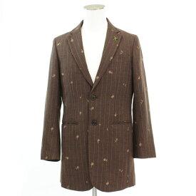 【中古】美品◆FRAPBOIS フラボア 花柄刺繍 テーラードジャケット サイズ1◆ brown /茶/ブラウン/ストライプ/フラワー/ウール/メンズ/アウター