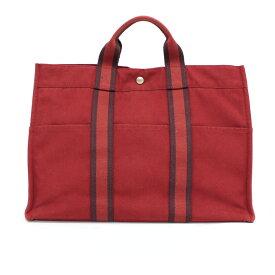 【中古】◆HERMES エルメス フールトゥMM キャンバス トートバッグ◆ red /赤/レッド/ハンド/フランス製/メンズ/鞄