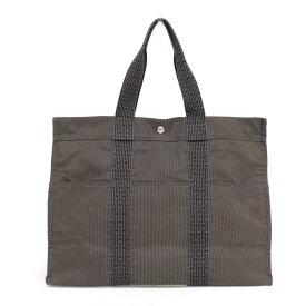 【中古】◆HERMES エルメス エールラインGM キャンバス トートバッグ◆ grey /グレー/ハンド/フランス製/メンズ/鞄