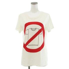 【中古】◆モスキーノクチュール プリントTシャツ サイズXS◆ ホワイト/白/イタリア製/コットン100%/半袖/MOSCHINO COUTURE/レディース/トップス