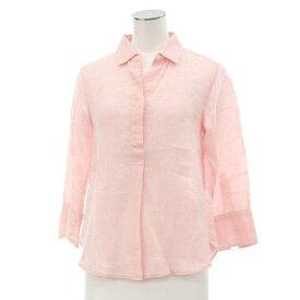 【中古】◆23区×リベコ リネンシャツ サイズ32◆ pink /ピンク/麻100%/七分袖/カジュアル/LIBECO/レディース/トップス