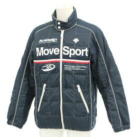 【中古】◆DESCENTE デサント ムーブスポーツ ダウンジャケット Mサイズ◆ 紺/ネイビー/スポーティー/ダウン80%/ジップアップ/メンズ/アウター