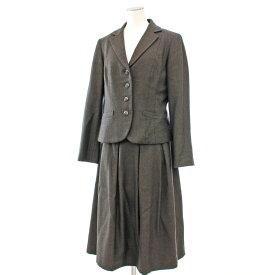 【中古】◆yoshie inaba ヨシエイナバ ジャケット×スカート セットアップ スーツ サイズ11◆ brown /茶/ブラウン/4B/レディース/膝丈
